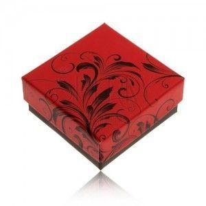 Niższe czerwono-czarne pudełeczko na pierścionek lub kolczyki, ornamenty obraz