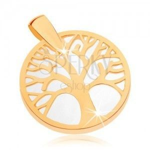 Wisiorek z żółtego złota 9K - drzewo życia w zarysie koła, perłowy podkład obraz