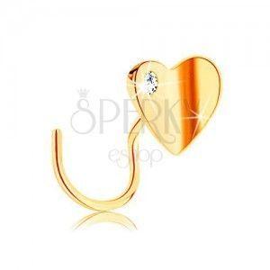 Piercing do nosa w żółtym 14K złocie, zagięty - małe płaskie serduszko obraz