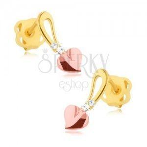Brylantowe kolczyki - 14K żółte i różowe złoto, serduszko na stopce, diamenty obraz