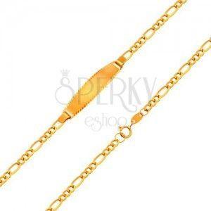 Złota 18K bransoletka z matową płytką - łańcuszek z wzorem Figaro, 155 mm obraz