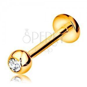 Diamentowy złoty 585 piercing do wargi i brody - kuleczka z brylantem, 8 mm obraz