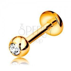 Brylantowy piercing do wargi i brody, 14K złoto - kuleczka z diamentem, 6 mm obraz