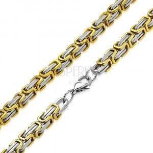 Dwukolorowy łańcuszek ze stali chirurgicznej - kolor srebrno-złoty, bizantyjski wzór, 9 mm obraz