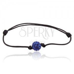 Czarna prosta sznurkowa bransoletka, Shamballa niebieska kuleczka obraz