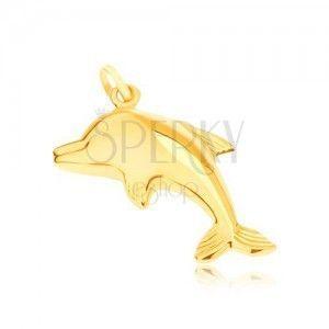 Złoty wisiorek 585 - lustrzany, lśniący skaczący delfin, przestrzenny obraz