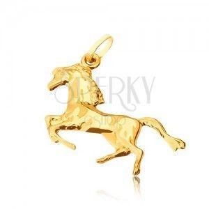 Złoty wisiorek 585 - lśniący koń stojący na tylnych nogach obraz