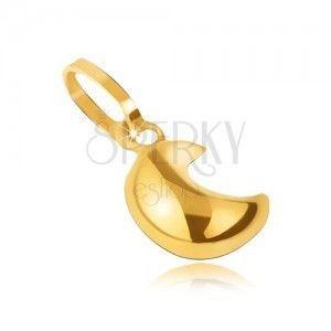 Błyszcząca przywieszka w żółtym 14K złocie - wypukły gładki półksiężyc obraz