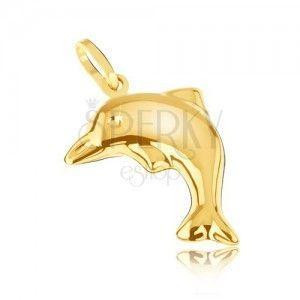 Przestrzenny złoty 14K delfin, grawerowana powierzchnia z wysokim połyskiem obraz