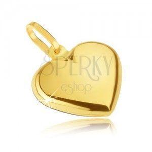 Złoty wisiorek 585 - gładkie symetryczne serce, lustrzany połysk obraz