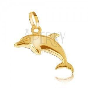 Wisiorek w 14K złocie - lśniący przestrzenny delfin obraz