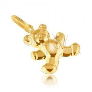 Złoty wisiorek 585 - lśniący delikatnie grawerowany miś 3D, zaokrąglona powierzchnia obraz