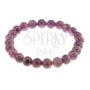 Elastyczna bransoletka na rękę, lśniące ametystowe kuleczki, odcienie fioletowego koloru obraz