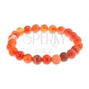 Elastyczna bransoletka, kuleczki pomarańczowego koloru z agatu na przezroczystej gumeczce obraz