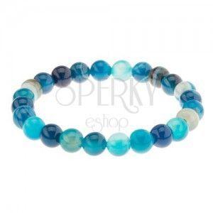 Elastyczna bransoletka, kuleczki niebieskiego koloru z agatu na przezroczystej gumce obraz
