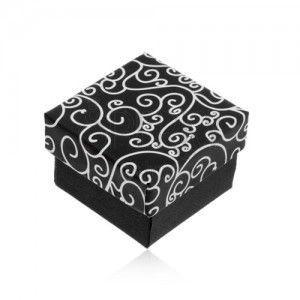 Czarno-białe pudełeczko na kolczyki, zawieszkę lub pierścionek - skręcony wzór obraz