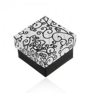 Czarno-białe pudełeczko na kolczyki, zawieszkę lub pierścionek, wzór spirali obraz