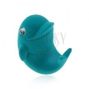 Aksamitne pudełeczko na pierścionek lub kolczyki, niebieski delfin, ruchome oczka obraz