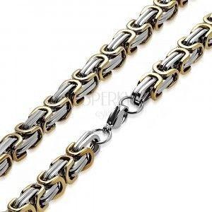 Stalowy łańcuszek w kolorze srebrno-złotym - bizantyjski wzór, podwójne oczka, 8, 5 mm obraz