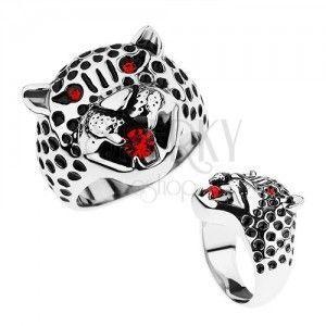 Masywny pierścionek, stal 316L, głowa leoparda, czerwone cyrkonie obraz