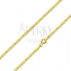 Złoty łańcuszek 14K - płaskie owalne oczka podzielone pałeczką, 600 mm obraz