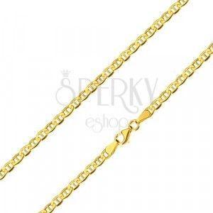 Łańcuszek z żółtego 14K złota - lśniące owalne oczka z pałeczką pośrodku, 600 mm obraz