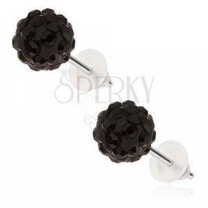 Kolczyki ze stali chirurgicznej - czarne kuleczki Shamballa z cyrkoniami, 8 mm obraz