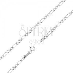 Łańcuszek w białym 9K złocie, trzy mniejsze i jedno większe podłużne ogniwo, 500 mm obraz