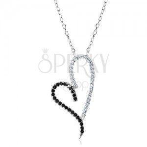 Naszyjnik ze srebra 925 - kontury symetrycznego serca, łańcuszek obraz