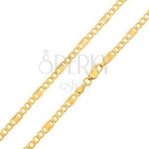 Złoty łańcuszek 585 - trzy owalne ogniwa, ogniwo z kluczem greckim, 550 mm obraz
