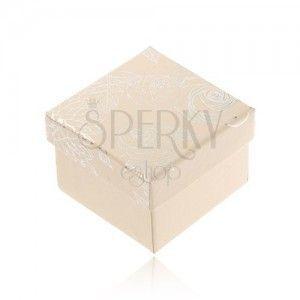 Kremowobiałe pudełeczko na biżuterię, srebrny motyw kwiatów obraz