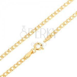 Złoty łańcuszek 375 - płaskie elipsowe ogniwa z delikatnymi nacięciami, 450 mm obraz