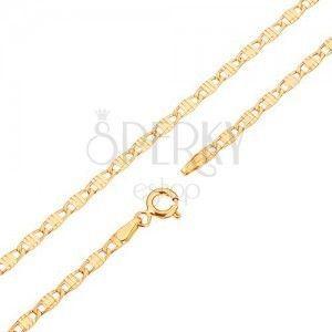 Łańcuszek w żółtym 14K złocie - podłużne ogniwa ozdobione nacięciami, 500 mm obraz