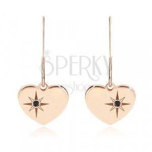 Srebrne 925 kolczyki, różowo-złoty odcień - symetryczne serce, Gwiazda Północna, czarny diament obraz