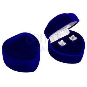 Pudełeczko na kolczyki - ciemnoniebieskie aksamitne serce obraz
