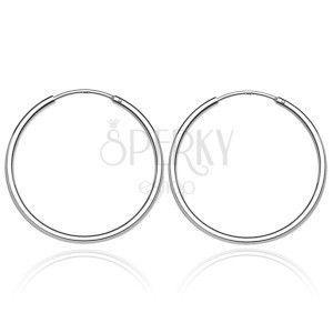 Okrągłe kolczyki ze srebra - lśniąca, gładka powierzchnia, 25 mm obraz