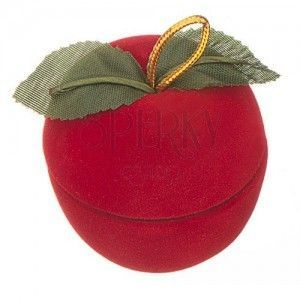 Aksamitne pudełeczko na pierścionek - jabłko z listkami obraz