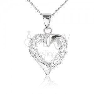 Srebrny naszyjnik 925, cyrkoniowy zarys symetrycznego serca i łańcuszek obraz