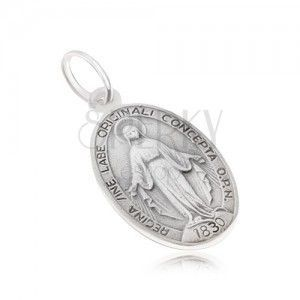 Owalny medalik z Panną Marią, matowy, dwustronny, ze srebra 925 obraz