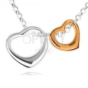 Srebrny naszyjnik 925 - dwa zarysy serc w srebrnej i złotej tonacji obraz