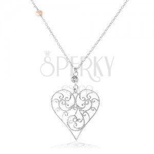 Srebrny naszyjnik 925, wypukłe serce ozdobione ażurowym wzorem, przezroczysta cyrkonia obraz