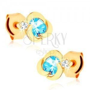 Złote kolczyki 375 - kwiatek o okrągłych płatkach, niebieski topazowy środek obraz