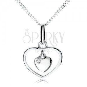 Naszyjnik ze srebra 925, małe serduszko wiszące w zarysie serca obraz