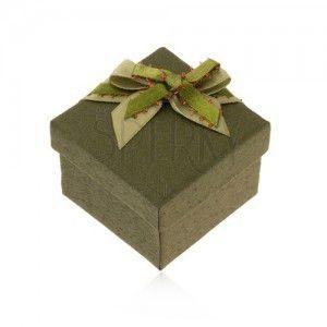 Ciemnozielone pudełeczko na pierścionek lub kolczyki, zielona kokardka obraz