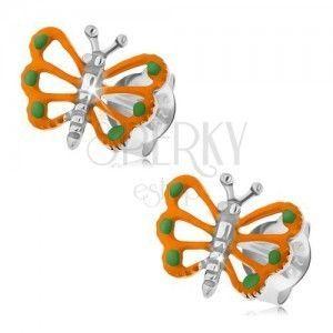 Srebrne kolczyki 925, pomarańczowy motylek z wyciętymi skrzydłami obraz