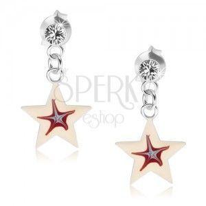 Kolczyki ze srebra 925, biała gwiazdeczka z czerwono-niebieskim środkiem obraz