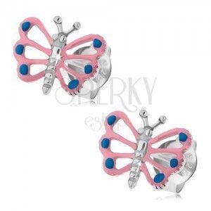 Kolczyki srebro 925, motylek z jasnoróżowymi skrzydłami, wycięcia obraz
