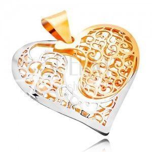 Złota zawieszka 585 - dwukolorowe serce z wycięciem i filigranową dekoracją obraz