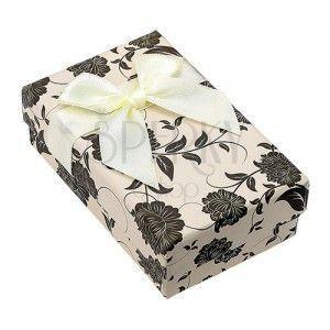 Pudełeczko na zestaw lub łańcuszek, beżowo-czarne z motywem kwiatów obraz