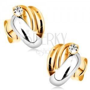 Złote diamentowe kolczyki 585 - lśniące dwukolorowe łuki, bezbarwny okrągły brylant obraz